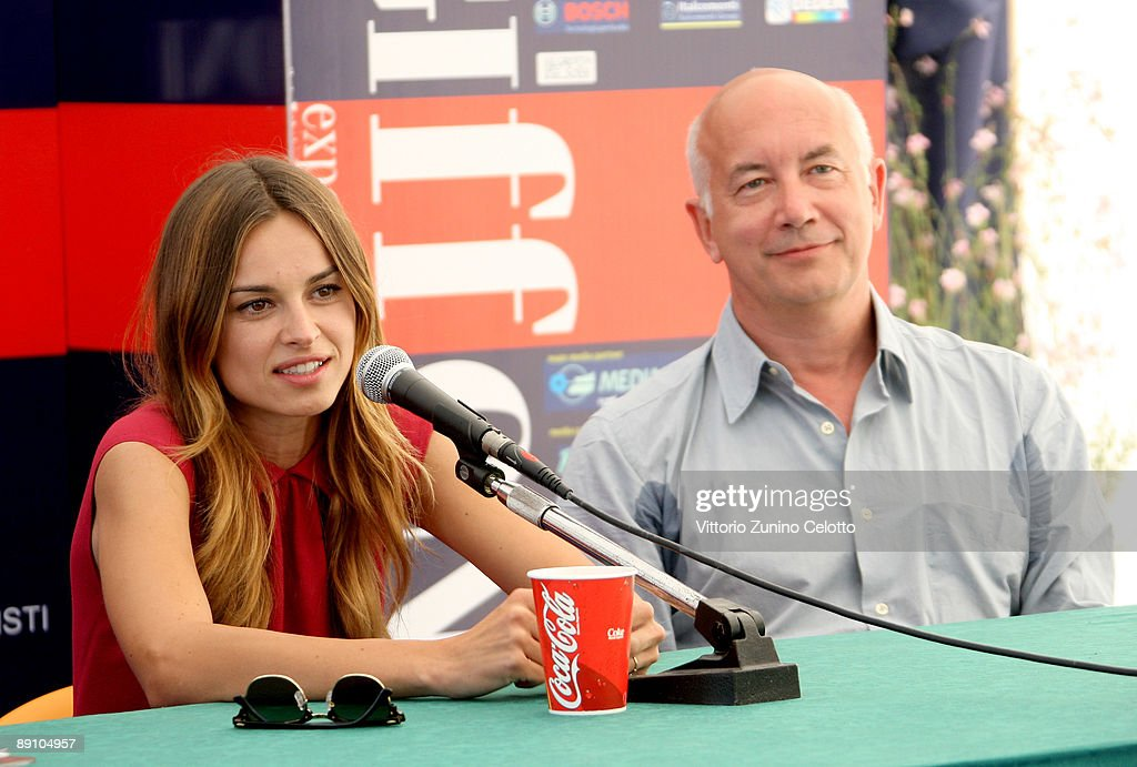Actress Kasia Smutniak and director Davide Ferrarrio attend a press conference during the 2009 Giffoni Experience on July 19, 2009 in Salerno, Italy.