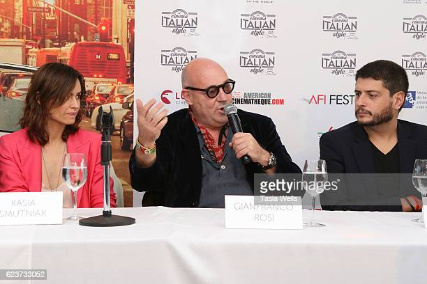 Actress Kasia Smutniak and directors Gianfranco Rosi and Cluadio Giovannesi attend the Cinema Italian Style press conference at Mr C Beverly Hills on...