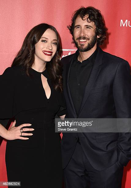 Actress Kat Dennings and recording artist Josh Groban attend the 25th anniversary MusiCares 2015 Person Of The Year Gala honoring Bob Dylan at the...