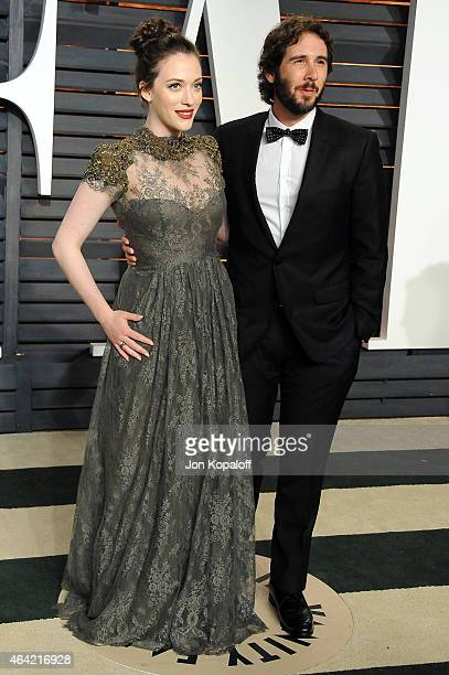 Actress Kat Dennings and singer Josh Groban attend the 2015 Vanity Fair Oscar Party hosted by Graydon Carter at Wallis Annenberg Center for the...