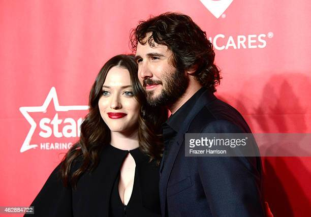 Actress Kat Dennings and singer Josh Groban attend the 25th anniversary MusiCares 2015 Person Of The Year Gala honoring Bob Dylan at the Los Angeles...