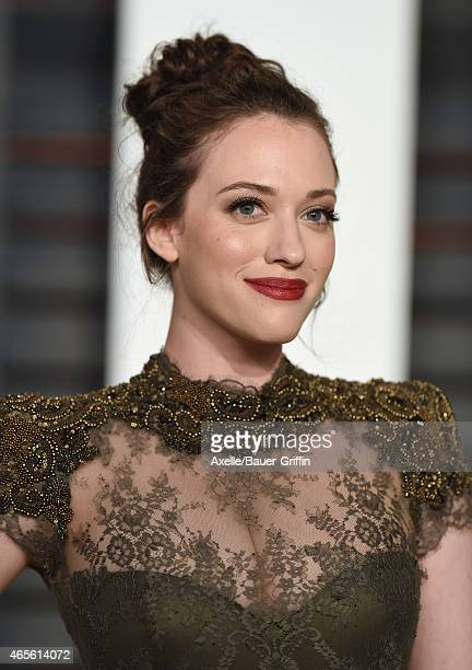 Actress Kat Dennings arrives at the 2015 Vanity Fair Oscar Party Hosted By Graydon Carter at Wallis Annenberg Center for the Performing Arts on...