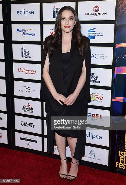 Actress Kat Dennings arrives at the 30th Israel Film Festival Anniversary Gala Awards Dinner at the Beverly Wilshire Four Seasons Hotel on November 9...