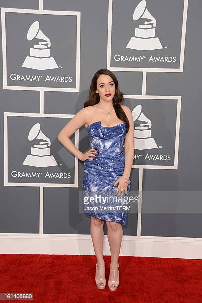 Actress Kat Dennings arrives at the 55th Annual GRAMMY Awards at Staples Center on February 10 2013 in Los Angeles California