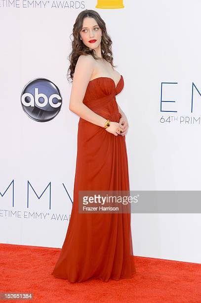 Actress Kat Dennings arrives at the 64th Annual Primetime Emmy Awards at Nokia Theatre LA Live on September 23 2012 in Los Angeles California