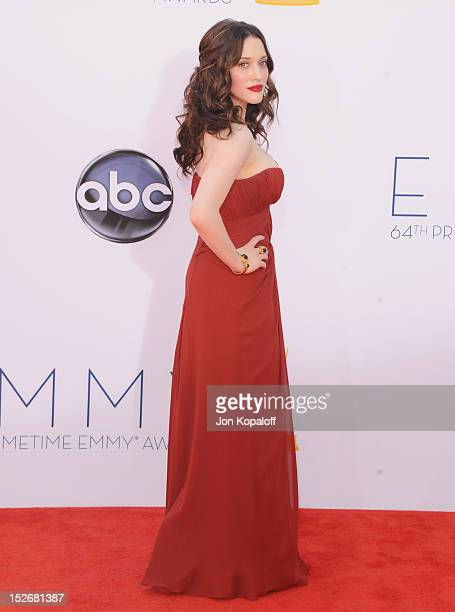Actress Kat Dennings arrives at the 64th Primetime Emmy Awards at Nokia Theatre LA Live on September 23 2012 in Los Angeles California