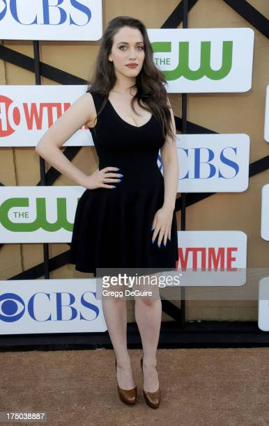 Actress Kat Dennings arrives at the CBS/CW/Showtime Television Critic Association's summer press tour party at 9900 Wilshire Blvd on July 29 2013 in...
