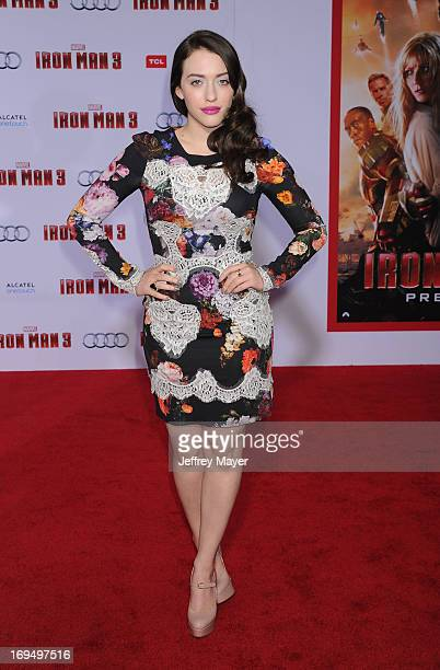 Actress Kat Dennings arrives at the Los Angeles Premiere of 'Iron Man 3' at the El Capitan Theatre on April 24 2013 in Hollywood California