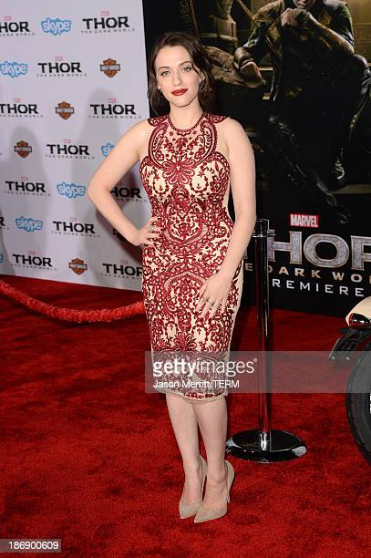 """Actress Kat Dennings arrives at the premiere of Marvel's """"Thor: The Dark World"""" at the El Capitan Theatre on November 4, 2013 in Hollywood,..."""