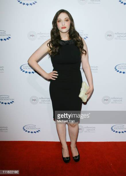 Actress Kat Dennings arrives to the Clinton Foundation Millenium Network Event held at The Roosevelt Hotel on April 30 2009 in Hollywood California