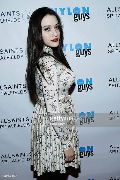 Actress Kat Dennings arrives to the Nylon Guys All Saints Winter Issue launch party at Tropicana Bar at The Hollywood Rooselvelt Hotel on December 9...