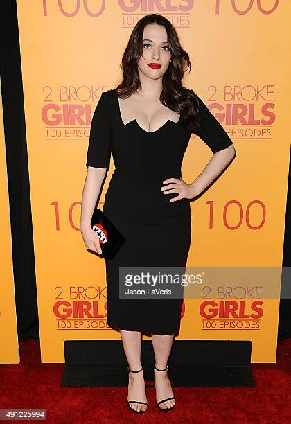 Actress Kat Dennings attends the 100th episode celebration of CBS' 2 Broke Girls at Mrs Fish on October 3 2015 in Los Angeles California