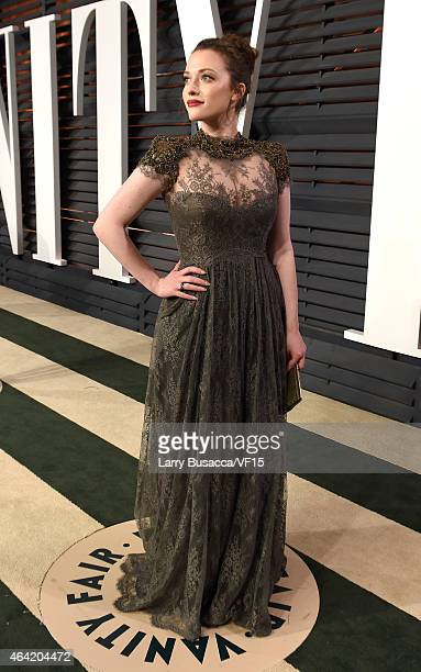 Actress Kat Dennings attends the 2015 Vanity Fair Oscar Party hosted by Graydon Carter at the Wallis Annenberg Center for the Performing Arts on...