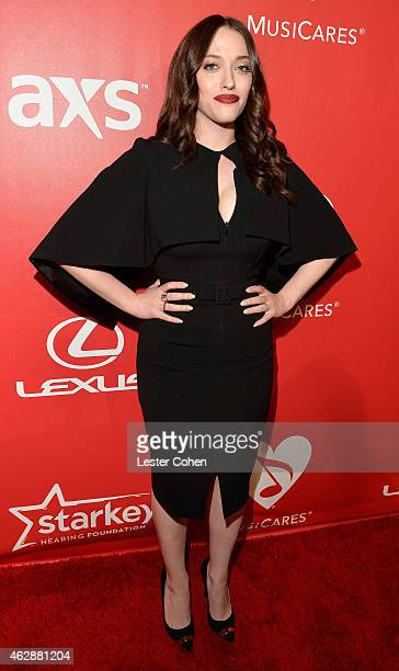 Actress Kat Dennings attends the 25th anniversary MusiCares 2015 Person Of The Year Gala honoring Bob Dylan at the Los Angeles Convention Center on...
