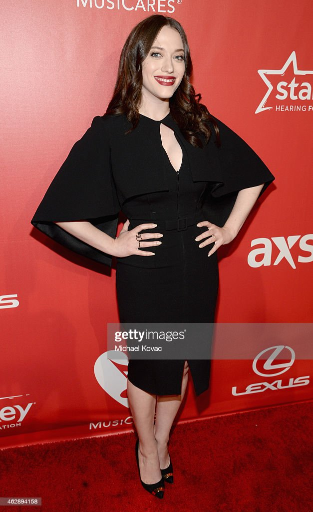 Actress Kat Dennings attends the 25th anniversary MusiCares 2015 Person Of The Year Gala honoring Bob Dylan at the Los Angeles Convention Center on February 6, 2015 in Los Angeles, California. The annual benefit raises critical funds for MusiCares' Emergency Financial Assistance and Addiction Recovery programs. For more information visit musicares.org.