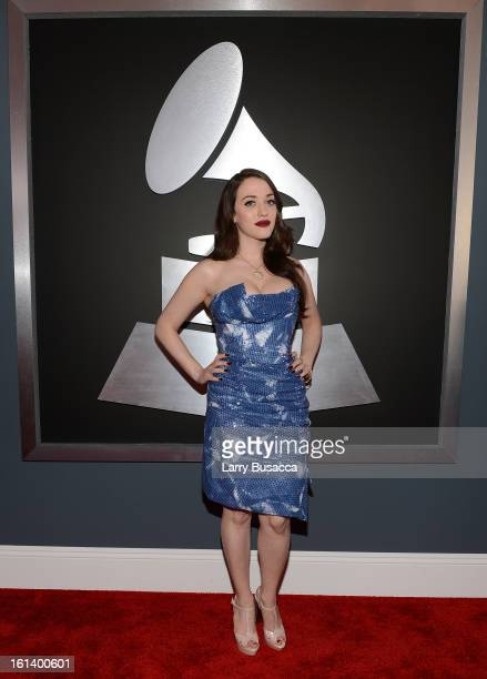 Actress Kat Dennings attends the 55th Annual GRAMMY Awards at STAPLES Center on February 10 2013 in Los Angeles California