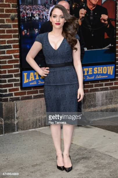 Actress Kat Dennings leaves the Late Show With David Letterman taping at the Ed Sullivan Theater on February 25 2014 in New York City