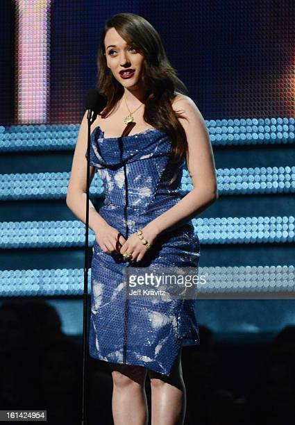 Actress Kat Dennings speaks onstage at the 55th Annual GRAMMY Awards at Staples Center on February 10 2013 in Los Angeles California