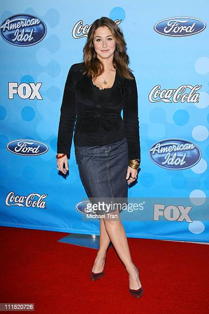 Actress Kat Foster arrives at Fox's American Idol meet the top 12 contestants party held at the Pacific Design Center on March 6 2008 in West...