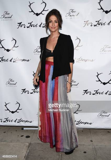 Actress Kat Foster attends For Love and Lemons annual SKIVVIES party cohosted by Too Faced and performance by The Shoe at The Carondelet House on...