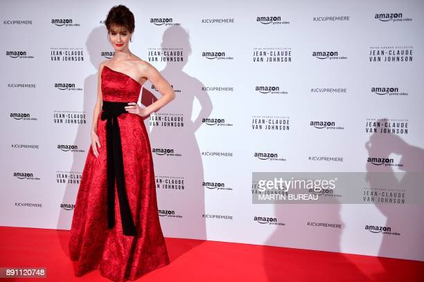 US actress Kat Foster poses a photocall for the world launch of the Amazon Prime series 'JeanClaude Van Johnson' on December 12 at the Grand Rex...