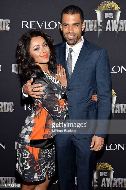 Actress Kat Graham and actor Cottrell Guidry attend the after party for the 2014 MTV Movie Awards at Nokia Theatre LA Live on April 13 2014 in Los...