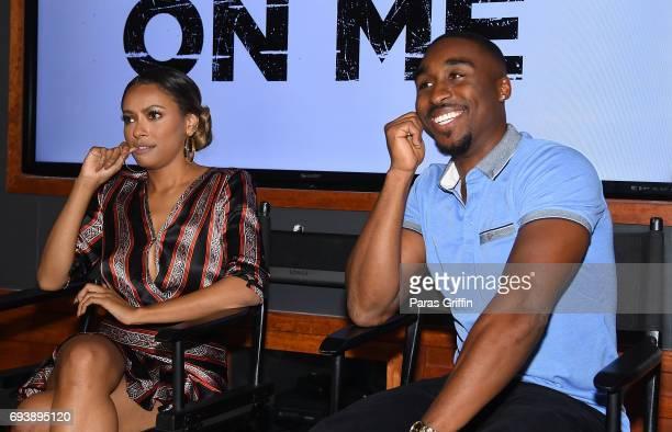 Actress Kat Graham and actor Demetrius Shipp Jr attend 'All Eyez On Me' QA at Means Street Studios on June 8 2017 in Atlanta Georgia