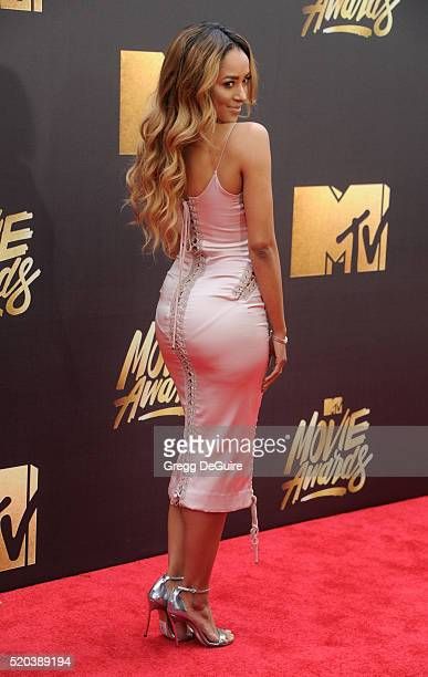 Actress Kat Graham arrives at the 2016 MTV Movie Awards at Warner Bros Studios on April 9 2016 in Burbank California