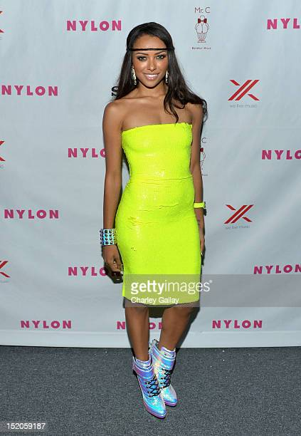 Actress Kat Graham arrives at the NYLON and And Sony X Headphones September TV issue launch event with cover star Lea Michele at Mr C Beverly Hills...