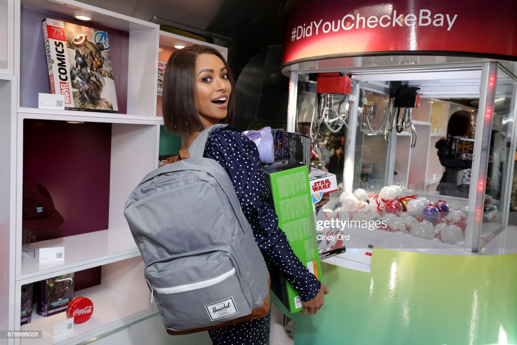 Actress Kat Graham at the 'Did You Check eBay?' Holiday Deals Airstream Tour in New York City at Greeley Square Park on November 24, 2017 in New York City.