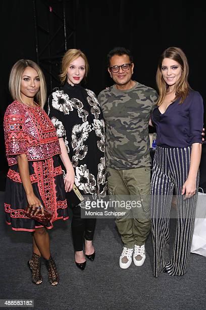 Actress Kat Graham designer Naeem Khan and actress Christina Hendricks designer and Ashley Greene attend Naeem Khan Spring 2016 during New York...
