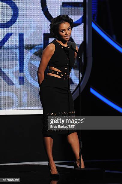 Actress Kat Graham speaks onstage during 'Black Girls Rock' BET Special at NJPAC – Prudential Hall on March 28 2015 in Newark New Jersey