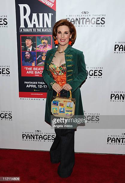 Actress Kat Kramer arrives at the opening night of 'Rain A Tribute To The Beatles' at the Pantages Theatre on April 12 2011 in Hollywood California
