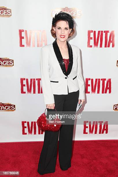 Actress Kat Kramer attends the Evita Los Angeles opening night at the Pantages Theatre on October 24 2013 in Hollywood California