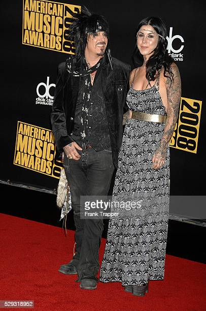Actress kat Von D and musician Nikki Sixx arrive at the 2008 American Music Awards held at the Nokia Theater