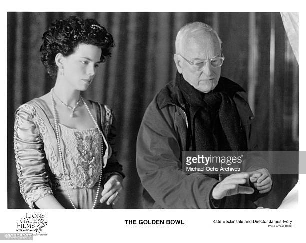 Actress Kate Beckinsale and director James Ivory on the set of the Lions Gate Film movie 'The Golden Bowl' circa 2000