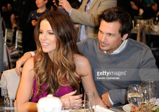 Actress Kate Beckinsale and director Len Wiseman attend the 2012 Film Independent Spirit Awards Cocktail Party held at the Santa Monica Pier on...