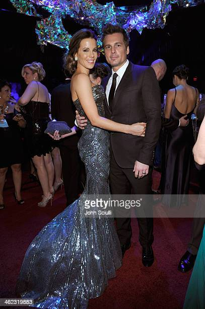 Actress Kate Beckinsale and director Len Wiseman attend the 2014 InStyle And Warner Bros. 71st Annual Golden Globe Awards Post-Party at The Beverly...