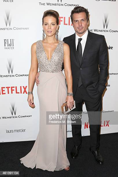 Actress Kate Beckinsale and director Len Wiseman attend the 2015 Weinstein Company and Netflix Golden Globes After Party at Robinsons May Lot on...