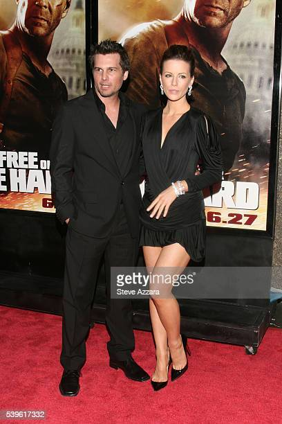 Actress Kate Beckinsale and husband director Len Wiseman at the premiere of 'Live Free or Die Hard' in New York City