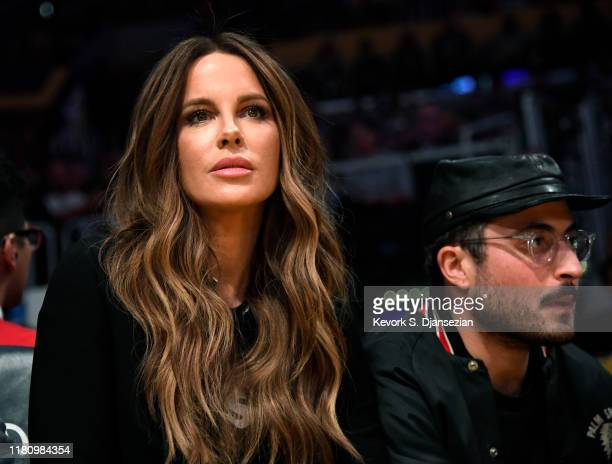 Actress Kate Beckinsale and Jonathan Voluck attend the basketball game between Miami Heat and Los Angeles Lakers at Staples Center on November 8,...