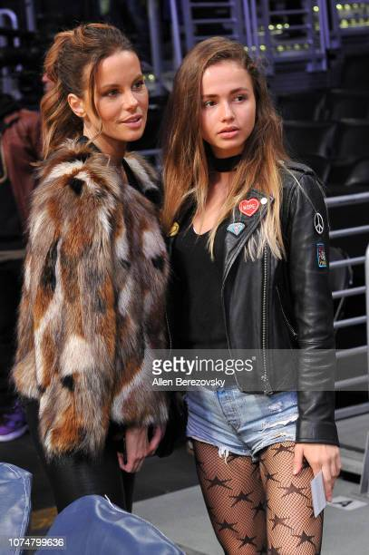 Actress Kate Beckinsale and Kattrin Katti attend a basketball game between the Los Angeles Lakers and the Indiana Pacers at Staples Center on...