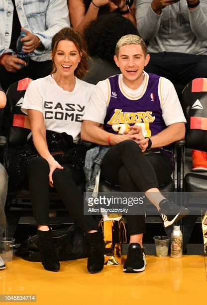 Actress Kate Beckinsale and Stephen Simbari attend a basketball game between the Los Angeles Lakers and the Sacramento Kings at Staples Center on...