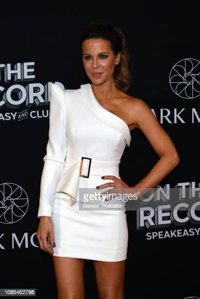 Actress Kate Beckinsale arrive at the grand opening celebration of On The Record Speakeasy and Club at Park MGM on January 19 2019 in Las Vegas Nevada