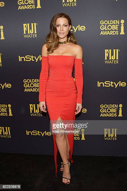 Actress Kate Beckinsale arrives at the Hollywood Foreign Press Association and InStyle celebrate the 2017 Golden Globe Award Season at Catch LA on...