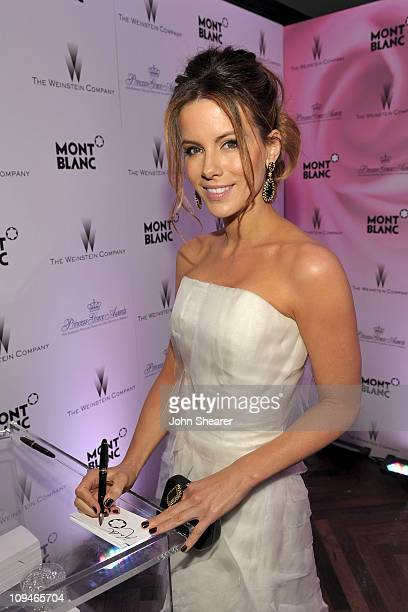 Actress Kate Beckinsale arrives at the Montblanc Cocktail Party cohosted by Harvey and Bob Weinstein celebrating the Weinstein Company's Academy...