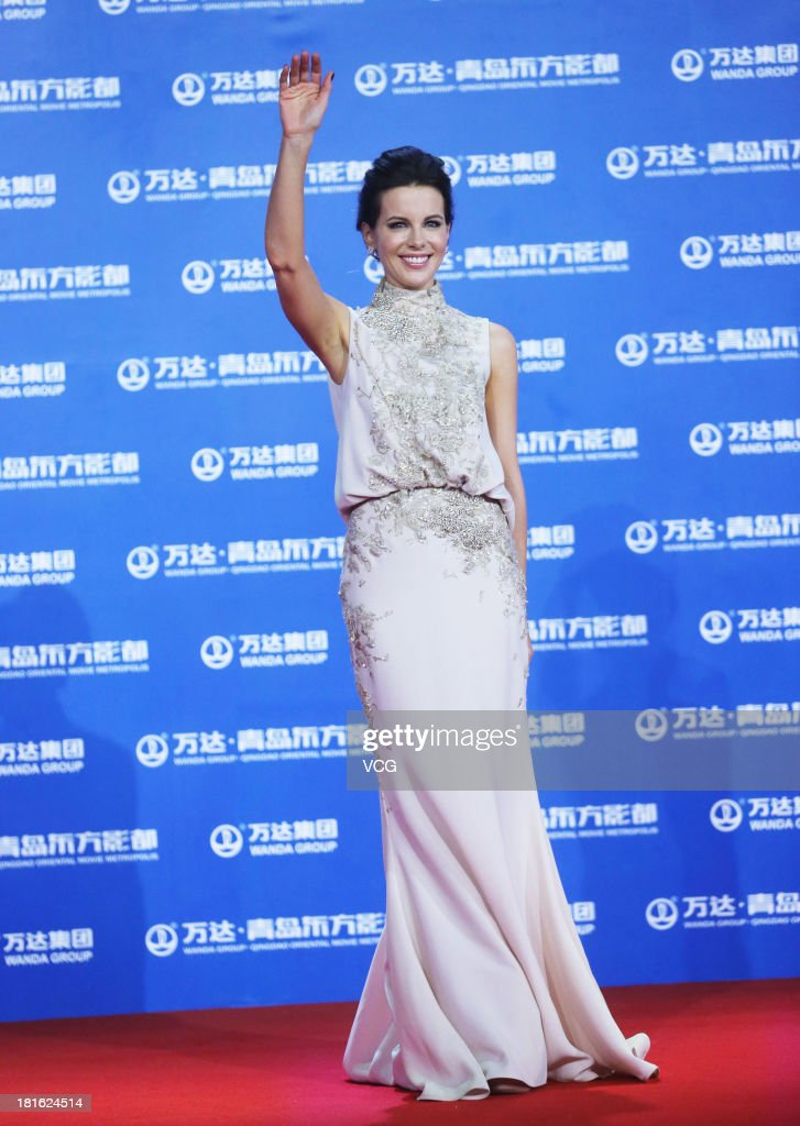 Actress Kate Beckinsale arrives on the red carpet during the opening night of the Qingdao Oriental Movie Metropolis at Qingdao Beer City on September 22, 2013 in Qingdao, China.