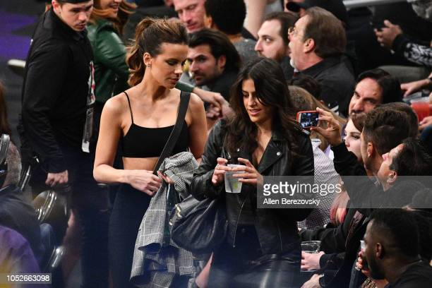 Actress Kate Beckinsale attends a basketball game between the Los Angeles Lakers and the Houston Rockets at Staples Center on October 20 2018 in Los...