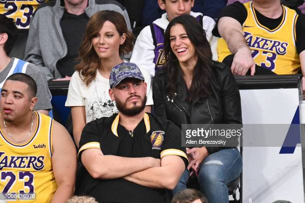 Actress Kate Beckinsale attends a basketball game between the Los Angeles Lakers and the Atlanta Hawks at Staples Center on November 11 2018 in Los...