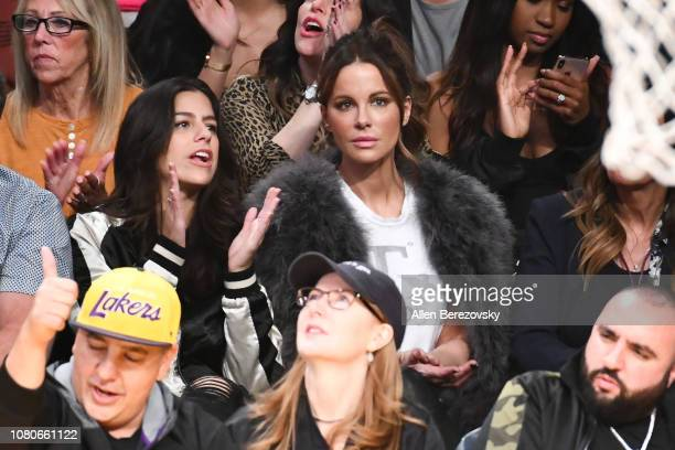 Actress Kate Beckinsale attends a basketball game between the Los Angeles Lakers and the Miami Heat at Staples Center on December 10 2018 in Los...